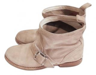 Burberry Beige Suede Buckle Detail Ankle Boots