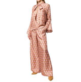 La DoubleJ Pink Geometric Print Pussy Bow Blouse & Wide Leg Pants