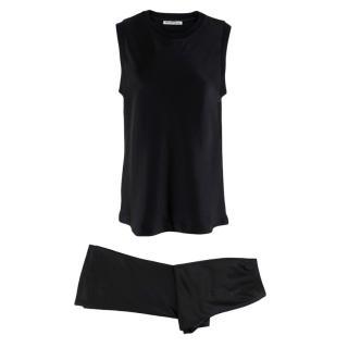 T by Alexander Wang Black Silk Satin Sleeveless Top & Pants