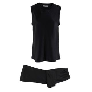 T by Alexander Wang Black Silk Satin Sleeveless Top & Pants