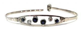Bespoke sapphire and diamond white gold bubble bangle