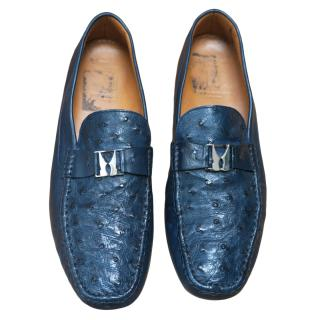 Moreschi Navy Ostrich Leather Loafers
