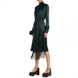 Gabriela Hearst Kelley fringed crinkled silk-satin midi dress