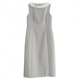 Prada Grey Felted Cashmere Dress W/ Mink Fur Trim