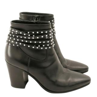 Saint Laurent Studded Wrap Strap Ankle Boots