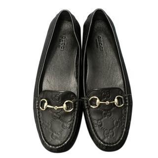 Gucci Black Guccissima Horsebit Loafers