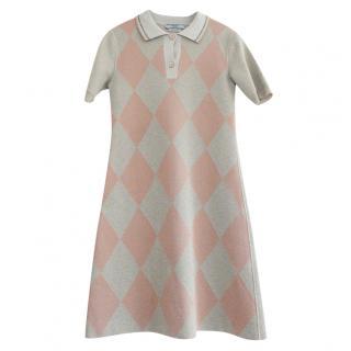 Prada Diamond Knit Polo Mini Dress