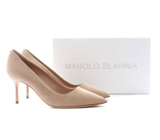 Manolo Blahnik Suede BB 70 Pumps