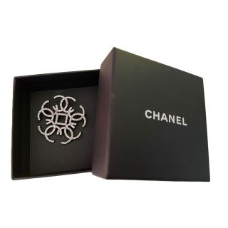 Chanel Gunmetal Crystal Embellished Brooch