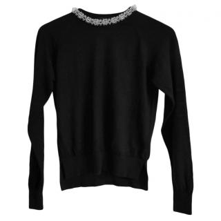 Simone Rocha Black Merino Wool Sweater W/ Resin Neckline