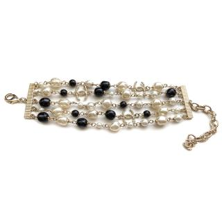 Chaenl Faux Pearl Beaded Chain Cuff