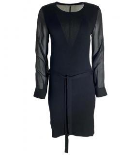 Max Mara Black Cashmere & Silk Dress W/ Sheer Sleeves