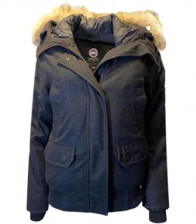 Canada Goose Grey Wool Bomber Jacket With Coyote Fur Trim