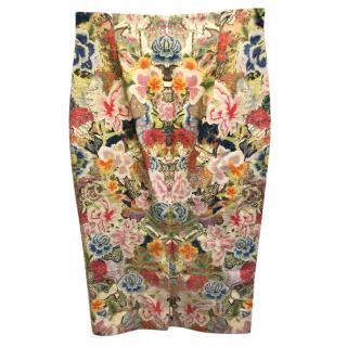 Alexander McQueen Floral Brocade Pencil Skirt