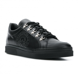 Balmain Logo Stamp Low Top Sneakers In Black