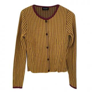 Sand Alpaca Wool Blend Yellow Houndstooth Cardigan