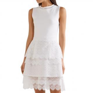 Antonio Berardi White Stretch Knit Lace Trim Mini Dress