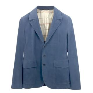 Loro Piana Blue Suede Leather Jacket