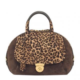 Salvatore Ferragamo Chocolate Brown & Leopard Print Fiamma Bag