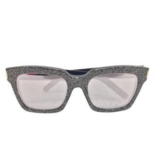 Saint Laurent Black Glitter Square Sunglasses