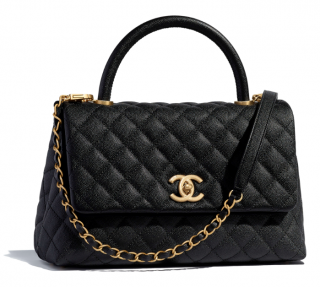 Chanel Black Caviar Leather Coco Top Handle Flap Bag