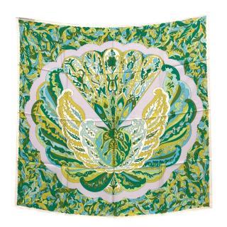 Emilio Pucci Green Silk Printed Scarf