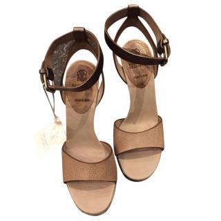 Brunello Cucinelli Block Heel Ankle Wrap Sandals