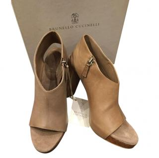 Brunello Cucinelli Brown Cut-Out Booties