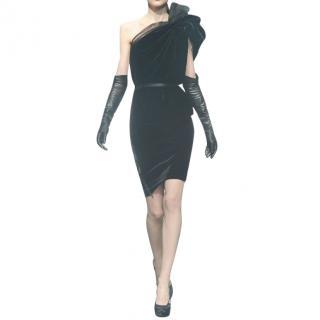 Lanvin Black Runway Velvet & Tulle One Shoulder Dress