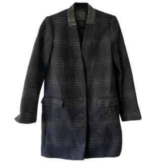Maje Mid-weight checked wool-blend Coat