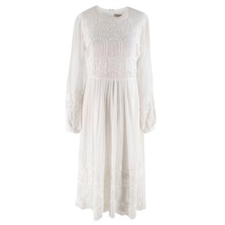 Burberry White Floral Embroidered Dress