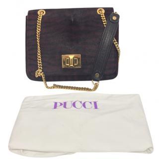 Emilio Pucci Pony Hair Burgundy Marquise Bag