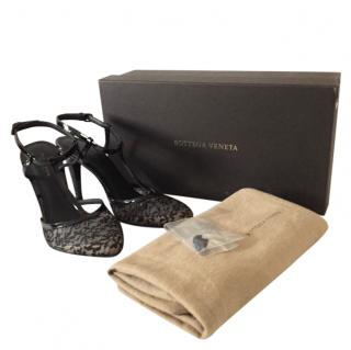 Bottega Veneta Black Lace & Patent Leather Sandals