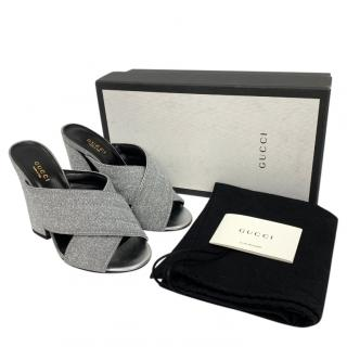 Gucci Silver Glitter Webby Mules