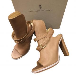 Brunello Cucinelli Beige Ankle Wrap Peep-Toe Sandals