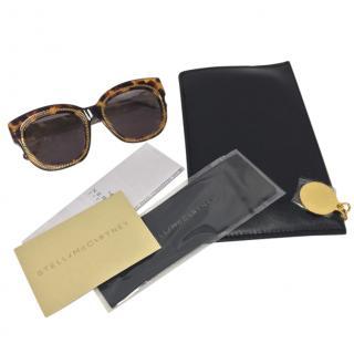 Stella McCartney Chain Trim Square Tortoiseshell Sunglasses