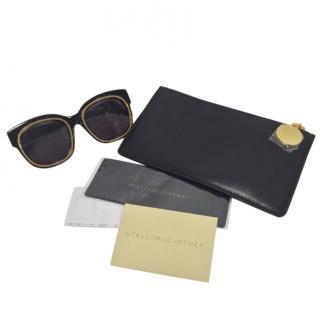 Stella McCartney Black Chain Trim Square Sunglasses