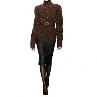 Donna Karan Brown Studded Suede Jacket