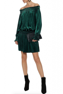 Norma Kamali Green Velvet Bardot Mini Dress