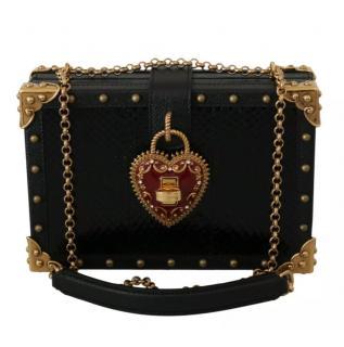 Dolce & Gabbana Black Leather Devotion Box Bag