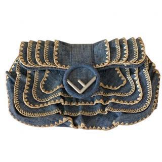 Fendi Denim Lace Trim Clutch Bag