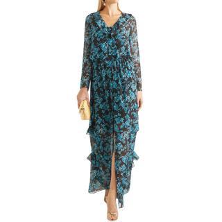 Saloni Blue Izzie Silk Chiffon Ruffled Dress