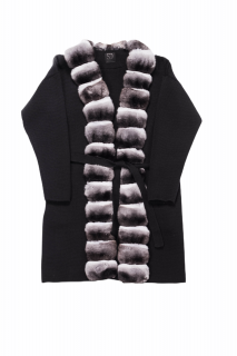 FurbySD Black Chinchilla Fur Trim Cashmere Jacket
