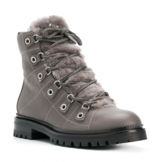 Jimmy Choo Grey Shearling & Leather Hillary Boots