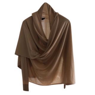 Donna Karan Camel Cashmere & Silk Blend Wrap