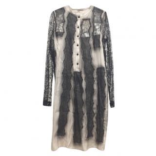 Bottega Veneta Lace Panelled Degrade Silk Dress