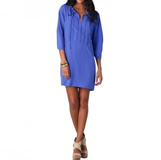 Diane Von Furstenburg Iliana blue silk mini dress