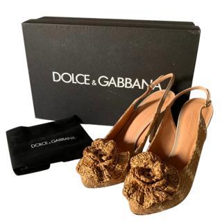 Dolce & Gabbana Raffia Slingback Embellished Sandals