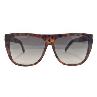 Saint Laurent Havana Retro Squared Sunglasses