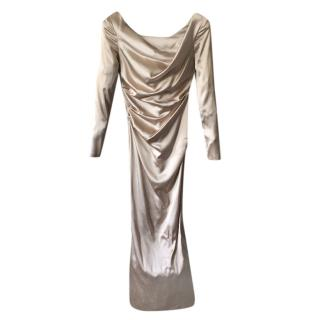 Talbot Runhof Satin Draped Gown